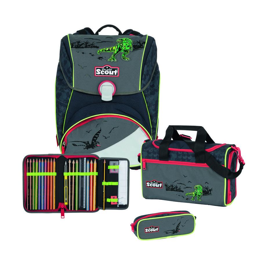 SCOUT Alpha Plecak z akcesoriami szkolnymi, 4-częściowy - Green Dino