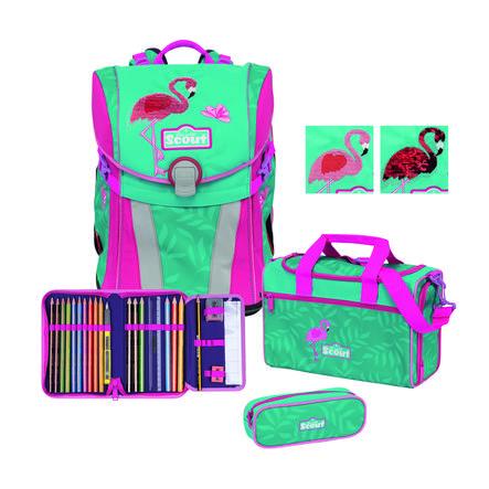 Scout Cartable d'école enfant Sunny - Premium Glitter Flamingo 4 pièces