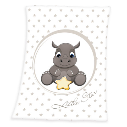 babybest® Microfaser-Flauschdecke Nashorn 75 x 100 cm