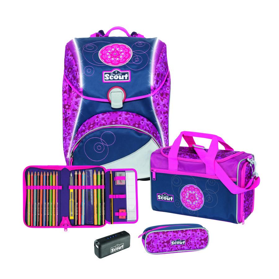 Scout Cartable d'école enfant Alpha-Set - Safety Light Pink Mandala 4 pièces