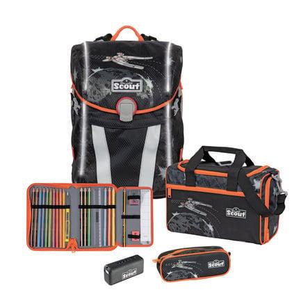 Scout Sunny Alpha Plecak z akcesoriami szkolnymi, 4-częściowy - Safety Light Space Command