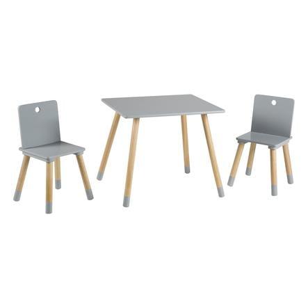 roba Set tavolino e due sedie, grigio/legno