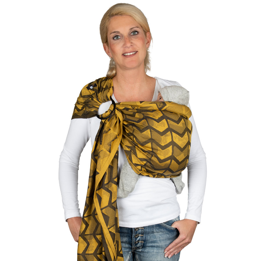 Hoppediz Kantoliina Ring-Sling jakardi Amsterdam Yellow