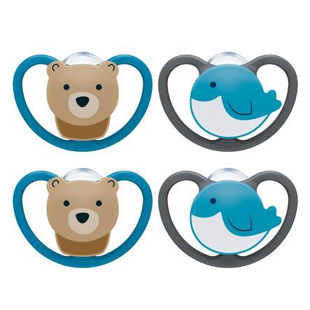 NUK chupete Space tamaño 2 6 - 18 meses silicona Design : oso / ballena 4 piezas