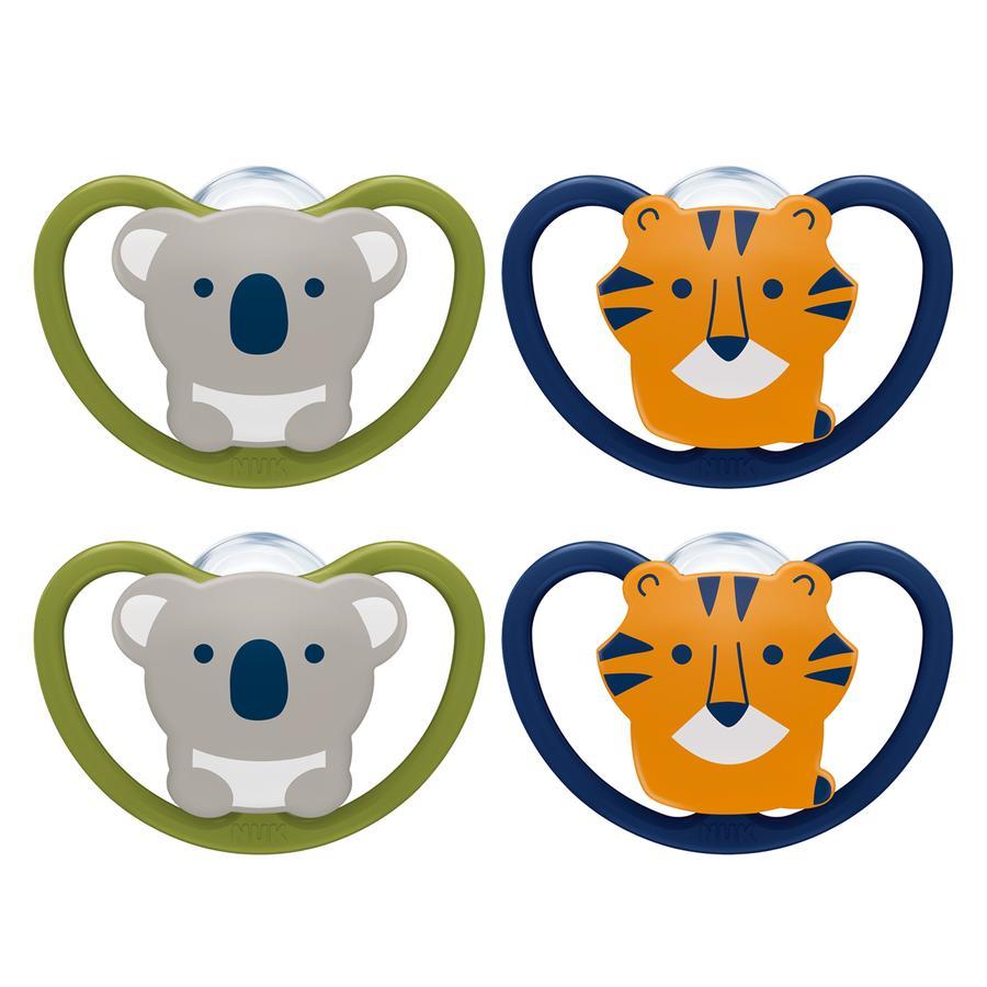 NUK Schnuller Space Gr. 2 6 - 18 Monate Silikon Design: Koala / Tiger 4 Stück