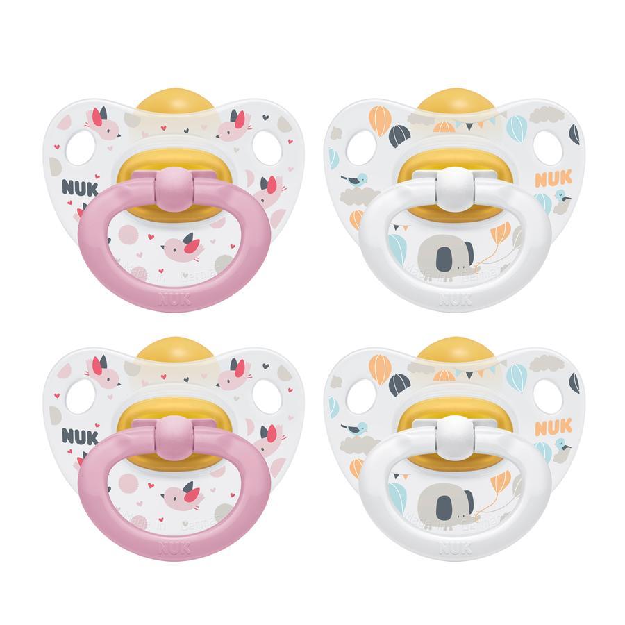 NUK chupete Happy Kids Gr. 1 Rosa / Látex blanco 4 piezas de nacimiento