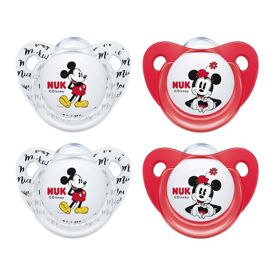 NUK Chupete Trendline Mickey & Minnie 90 aniversario silicona roja / blanca 4 piezas