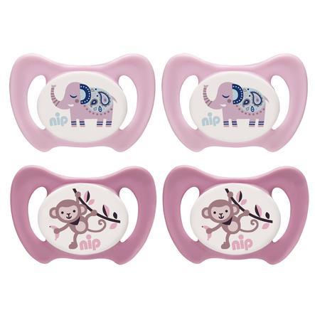 nip Dummy Miss Denti rosa / rosa størrelse 1 silikon elefant og ape 4 stykker