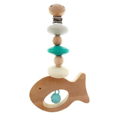 HESS Catenella per passegino Pesce  turchese/legno