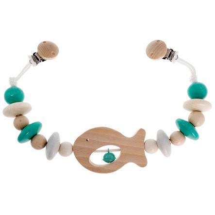 HESS Kinderwagenketting Vis natuurlijk Turquoise