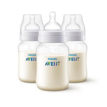 Philips Avent Biberon anti-coliques SCF813/37 valve AirFree 260 ml transparent lot de 3