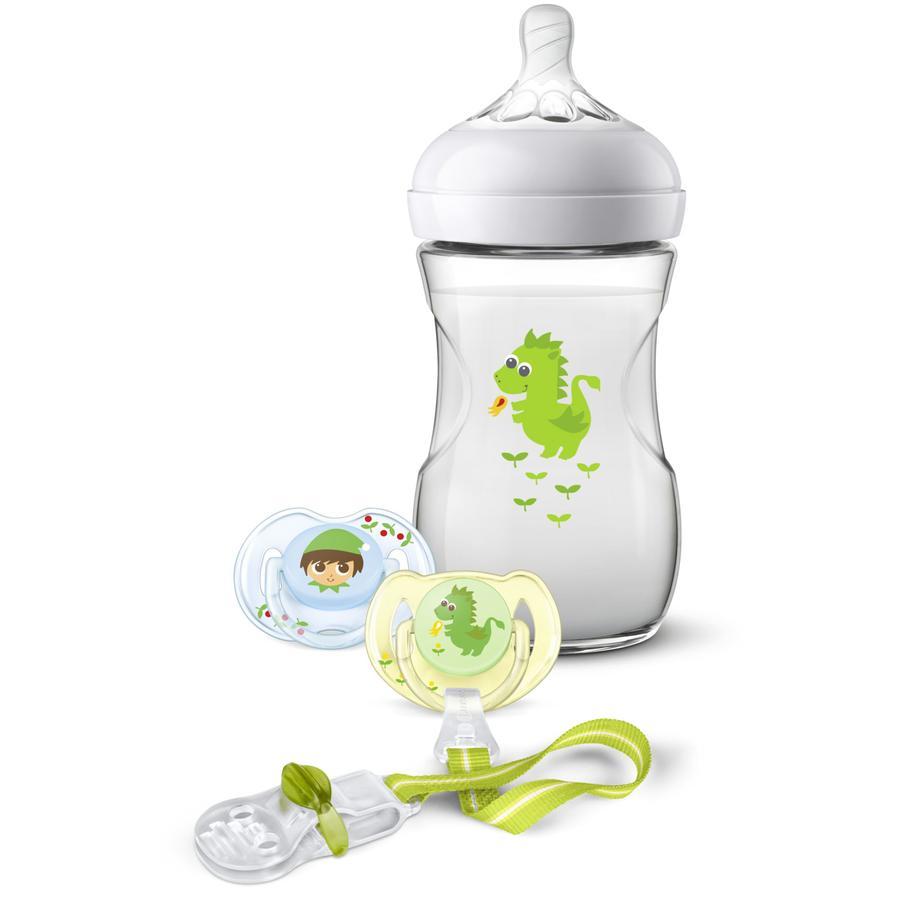 Philips Avent Geschenkset für Neugeborene SCD287/24 Flasche + Schnuller Drache 260 ml