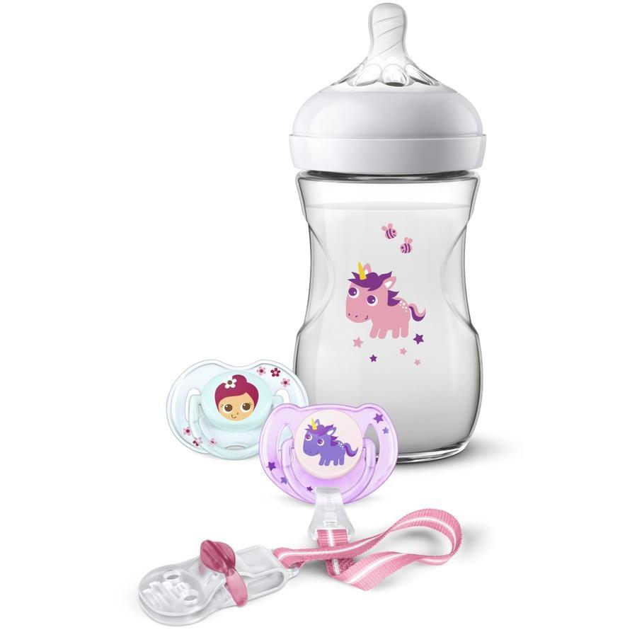 Philips Avent Geschenkset für Neugeborene SCD287/25 Flasche + Schnuller Drache 260 ml