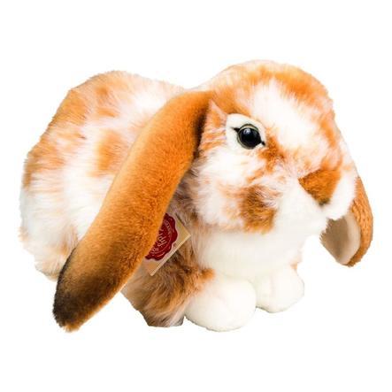 Teddy HERMANN® Peluche lapin couché, brun clair/tacheté blanc 30 cm