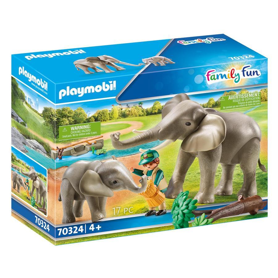 PLAYMOBIL  ® Elefantes de diversión familiar en el recinto exterior 70324
