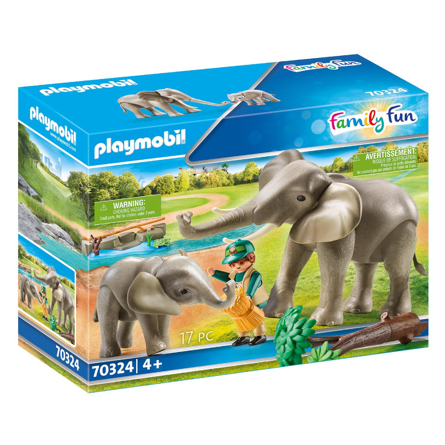 PLAYMOBIL® Family Fun Figurine éléphants et soigneur 70324
