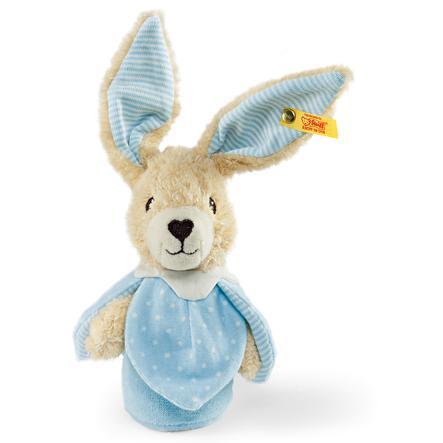 STEIFF Hoppel Rabbit Grip Toy with Rustling Foil 15 cm blue