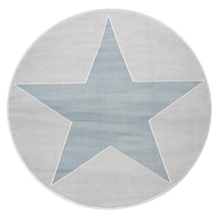 LIVONE leg og børnetæppe Happy Rugs Shootingstar runde, sølvgrå / blå 160 cm