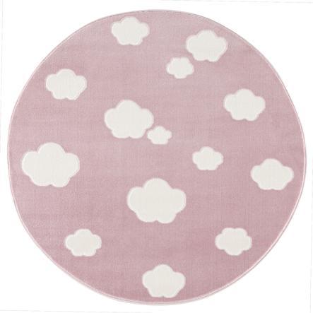 Tapis Happy Rugs pour enfants et jeux LIVONE - Sky Cloud rose/blanc, rond 133 cm