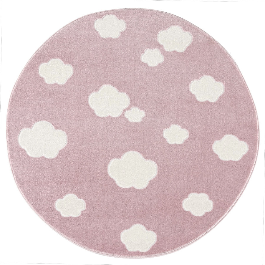 LIVONE play and children's tæppe Happy Rugs - Sky Cloud pink / hvid, rund 133