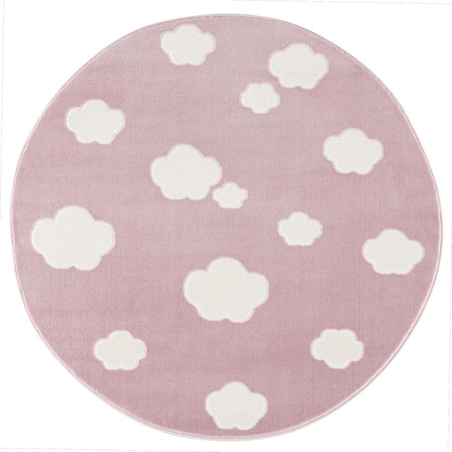 LIVONE Tapis enfant Happy Rugs Sky Cloud rond rose/blanc 133 cm