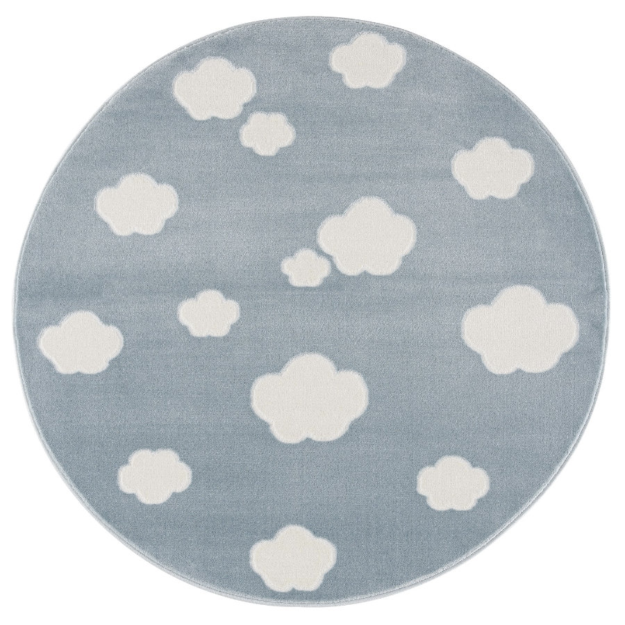 LIVONE Spiel- und Kinderteppich Happy Rugs - Sky Cloud blau/weiss, rund 133 cm