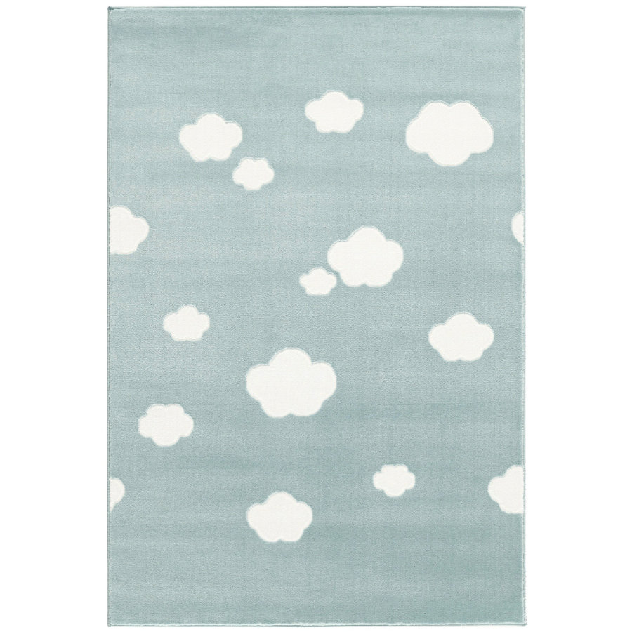 LIVONE play and children's tæppe Happy Rugs - Sky Cloud mynte / hvid, 120 x 180