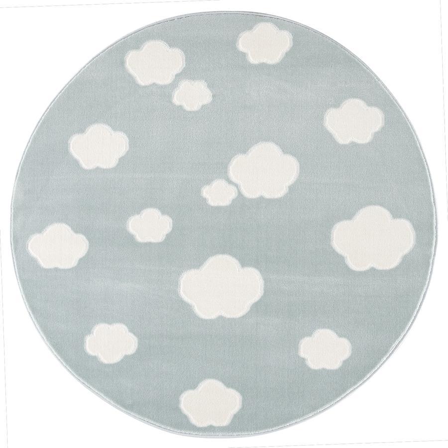Tapis Happy Rugs pour enfants et jeux LIVONE - Sky Cloud menthe/blanc, rond 133 cm