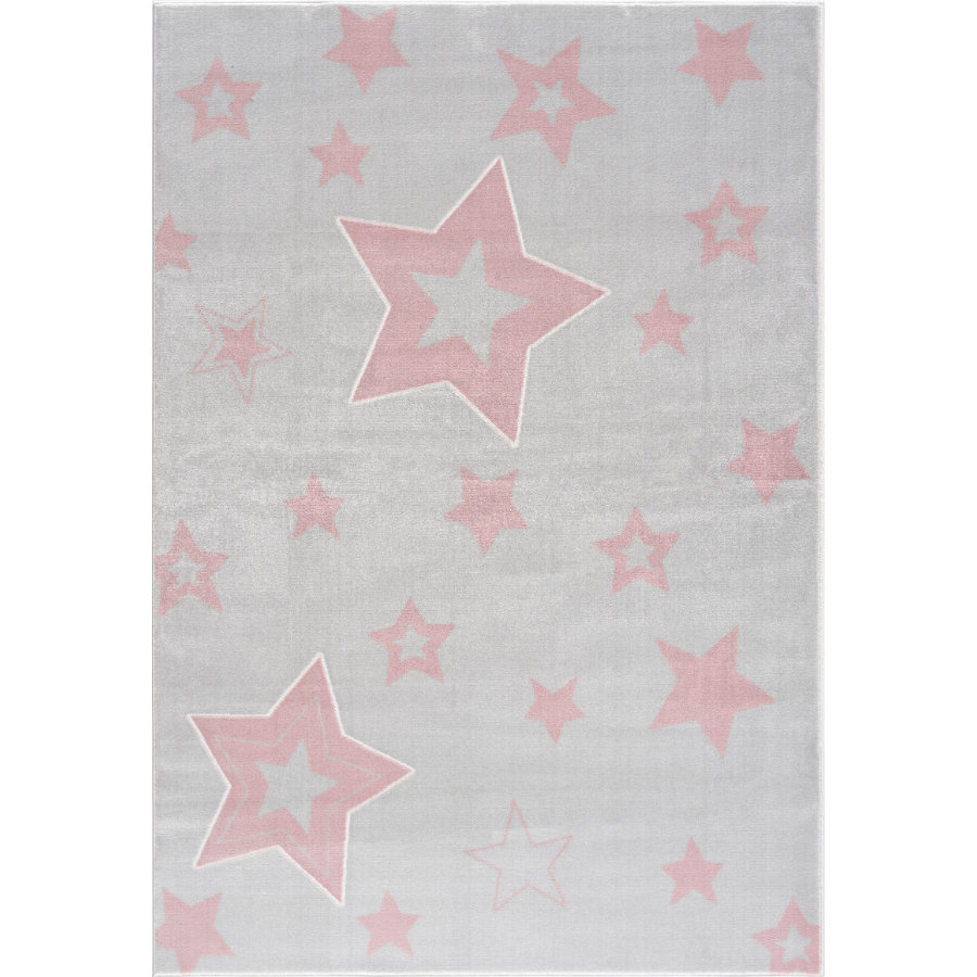 LIVONE play a dětský koberec Happy Rugs Galaxy silver-grey / pink 120 x 180