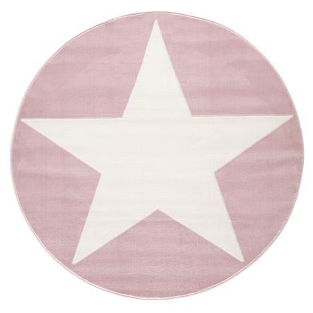 LIVONE leikki ja lasten matto Happy Rugs Shootingstar pyöreä, vaaleanpunainen / valkoinen 133 cm