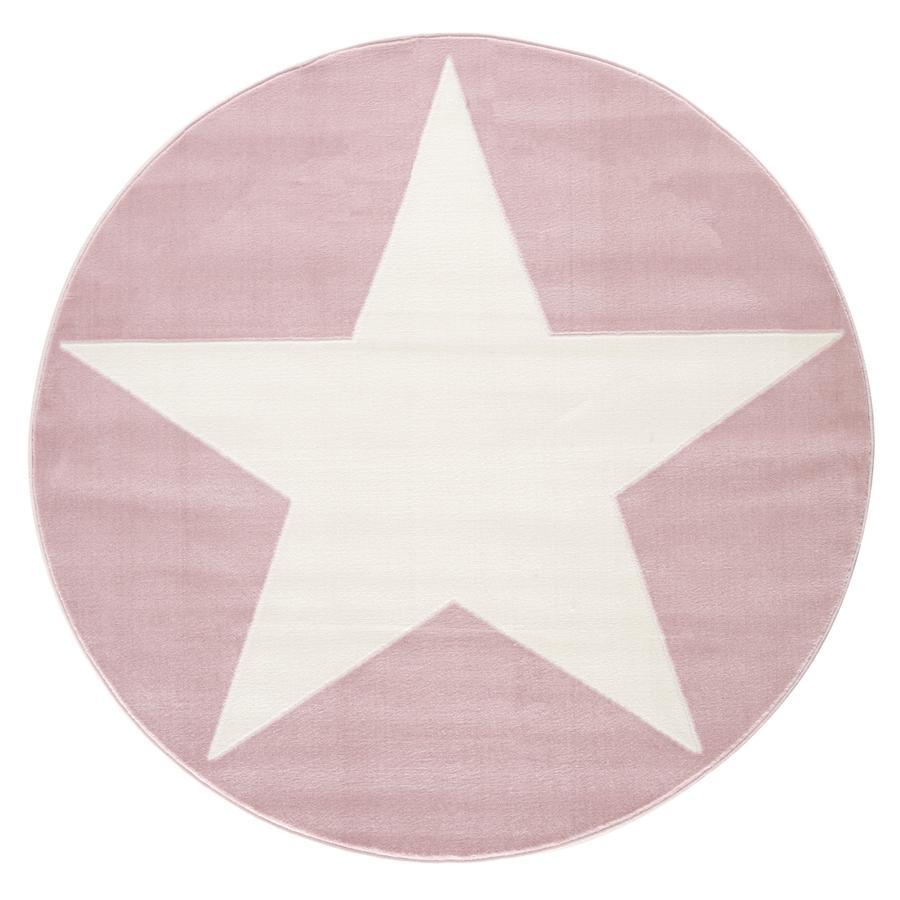 LIVONE gioco e tappeto per bambini Happy Rugs Shootingstar rotonda, rosa/bianco 160 cm