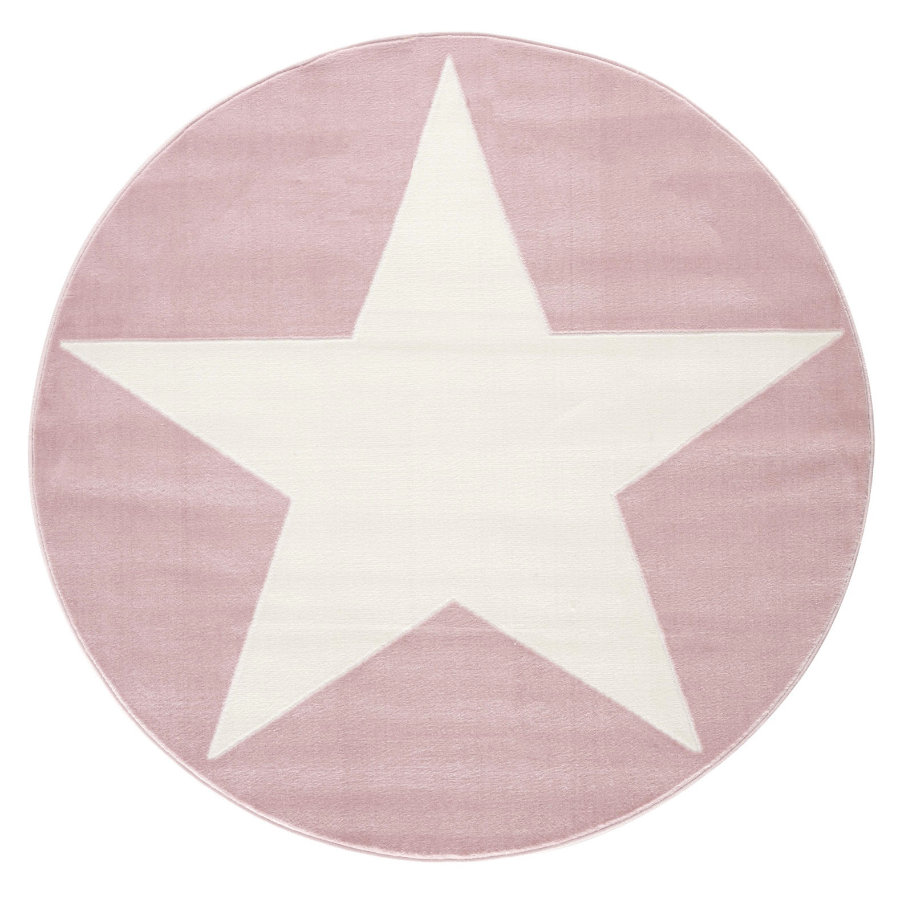 LIVONE Tapijt Happy Rugs Shootingstar rond roze/wit 160 cm