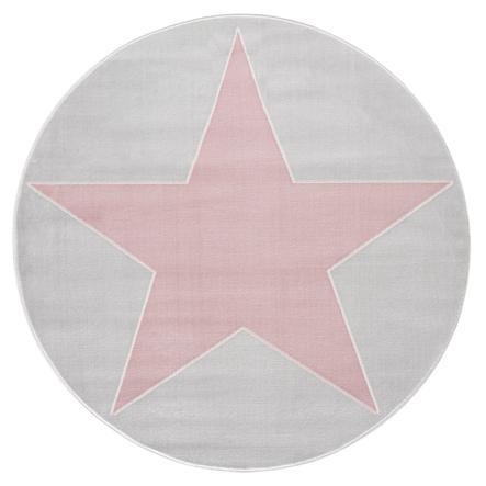 LIVONE Tapis enfant Happy Rugs Shootingstar rond gris argenté/rose 133 cm