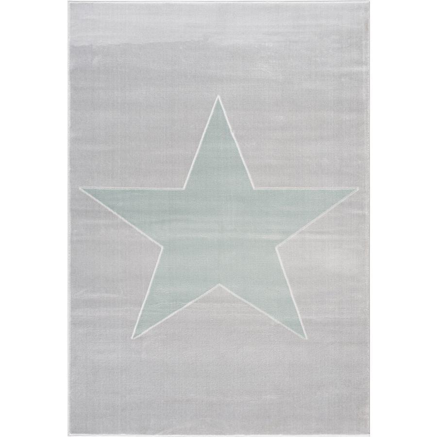 LIVONE leg og børnetæppe Happy Rugs stjerneskud sølvgrå / mynte, 120 x 180 cm