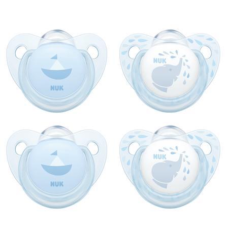 NUK Sucettes Baby Blue Trendline T.1 0-6 m silicone bleu lot de 4