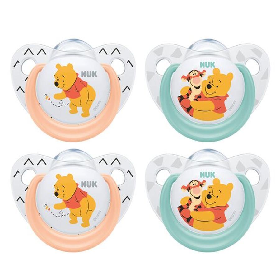 NUK Tonto Trendline Winnie the Pooh turquesa / silicona de salmón tamaño 2 4 piezas