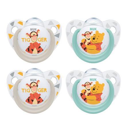 NUK Tonto Trendline Winnie the Pooh turquesa / silicona gris tamaño 2 4 piezas