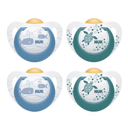 NUK Sutter Genius Color blå/grøn Gr. 3 silikone 4 stk fra 18. måneder