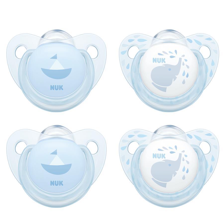 NUK Dummy babyblå Trendline blå silikonstorlek 2 4 delar