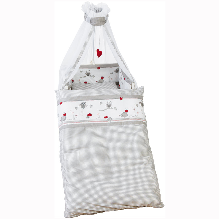 ROBA Kinderbettgarnitur 4tlg. 100x135cm Adam & Eule grau weiß bedruckt