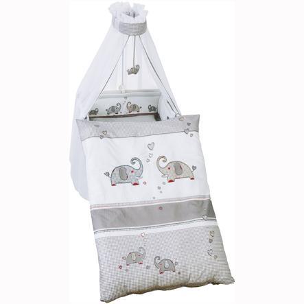 roba Set de lit bébé Jumbotwins, 4 pièces,  gris/blanc, 100 x 135 cm