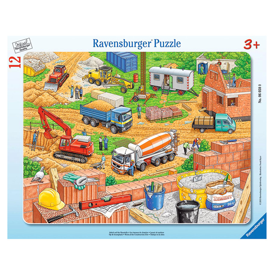 RAVENSBURGER Puzzle w ramce Plac budowy 06058