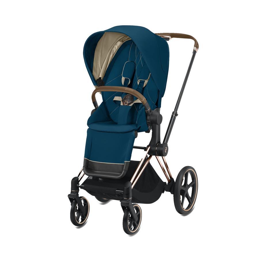 cybex PLATINUM Kinderwagen ePriam Rosegold inklusive Seat Pack in Mountain Blue
