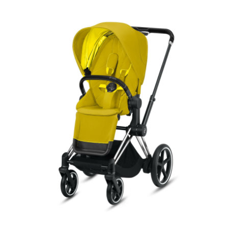 cybex PLATINUM Kinderwagen ePriam Chrome Black inklusive Seat Pack in Mustard Yellow