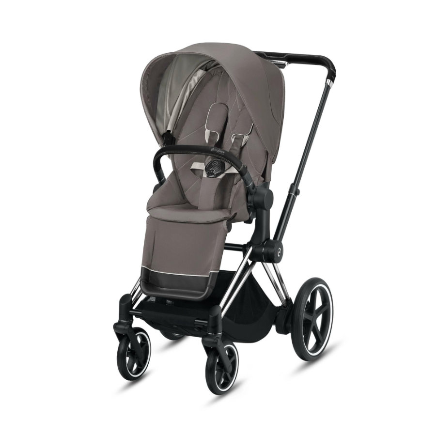 cybex PLATINUM Kinderwagen ePriam Chrome Black inklusive Seat Pack in Soho Grey