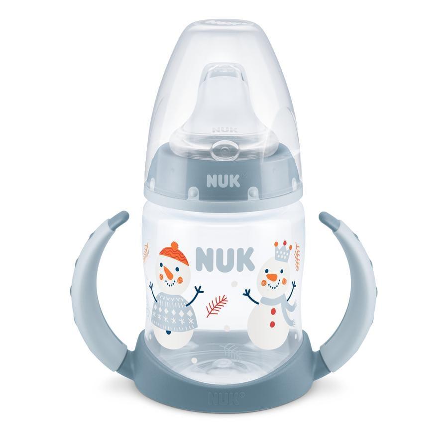 NUK Trinklernflasche First Choice Snow Edition, 150 ml mit Trinktülle, blau