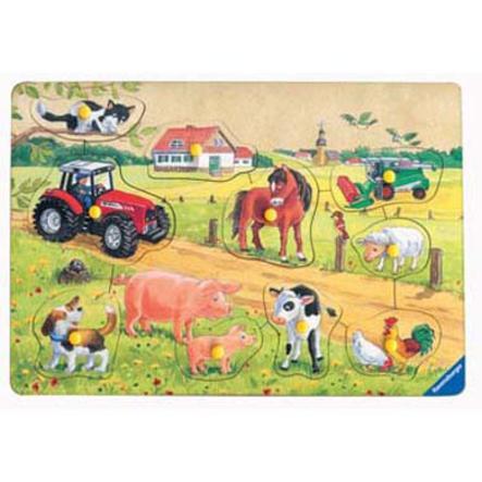 RAVENSBURGER Puzzle in legno Animali dellal fattoria, 10 pezzi