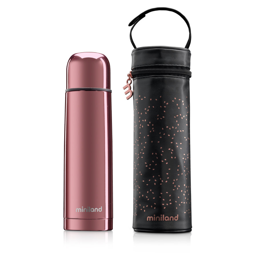 miniland deluxe thermos Thermosflasche mit Isoliertasche rose 500ml