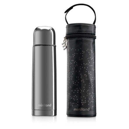 miniland deluxe thermos Thermosflasche mit Isoliertasche silber 500ml