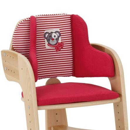 HERLAG Kussen & Stoelverkleiner voor de Tipp Topp kinderstoel Rood-rood met witte strepen